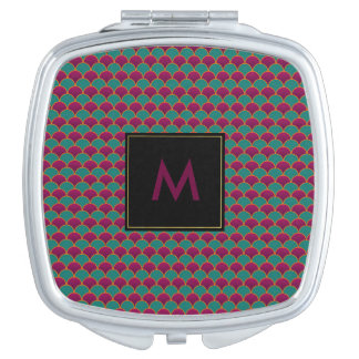 MERMAID SCALE MONOGRAM PURPLE AND TEAL MAKEUP MIRROR
