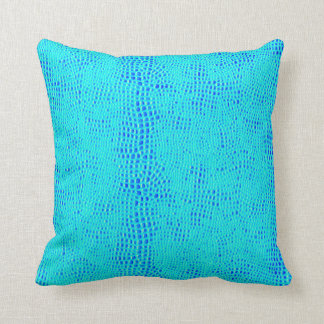 Mermaid Scale Neon Blue Vegan Leather Cushion
