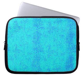 Mermaid Scale Neon Blue Vegan Leather Laptop Sleeve