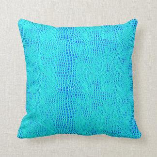 Mermaid Scale Neon Blue Vegan Leather Throw Pillow