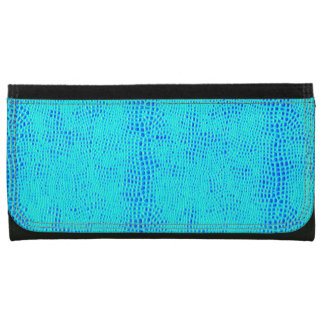 Mermaid Scale Neon Blue Vegan Leather Wallets