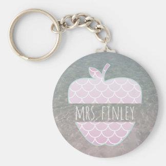Mermaid Scales Apple Ocean Teacher Basic Round Button Key Ring