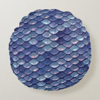 Mermaid Scales Blue round pillow