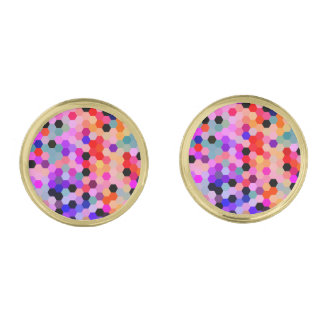 Mermaid Scales Lavender and Bittersweet Octagon Gold Finish Cuff Links