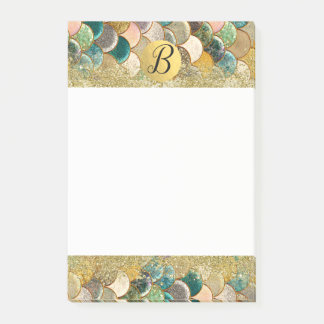 Mermaid Scales Multi Color Glitter Glam Monogram Post-it Notes