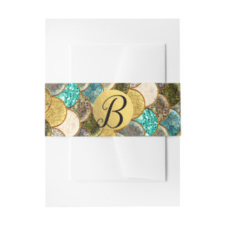 Mermaid Scales Multi Color Glitter Glam Party Invitation Belly Band