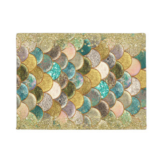 Mermaid Scales Multi Color Glitter Glam Trendy Doormat