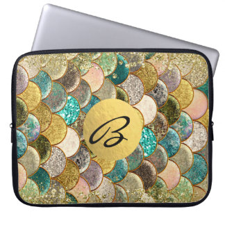 Mermaid Scales Multi Color Glitter Glam Trendy Laptop Sleeve