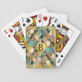 Mermaid Scales Multi Color Glitter Glam Trendy Playing Cards