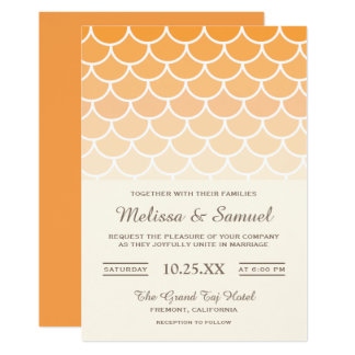 Mermaid Scales Orange Ombre Wedding Invitation