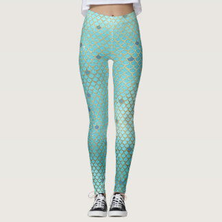 Mermaid Scales Scallops Pattern Aqua Teal Gold Leggings