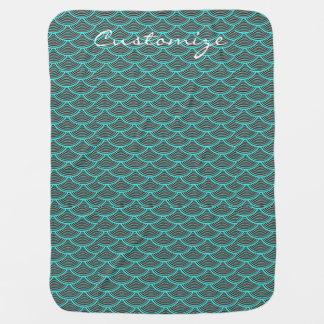 mermaid scales Thunder_Cove black/aqua Baby Blanket