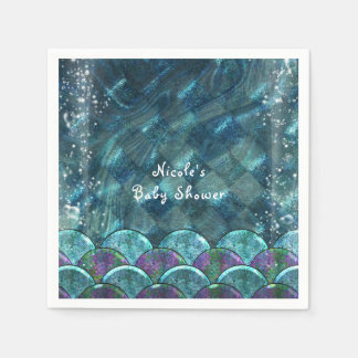 Mermaid Scales Under the Sea Birthday Party Paper Napkin