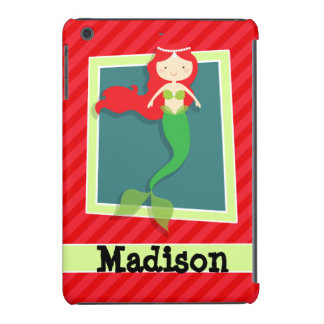 Mermaid; Scarlet Red Stripes iPad Mini Retina Cover