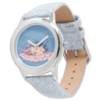 MERMAID SEA FAIRY CARTOON Silver Glitter Watch
