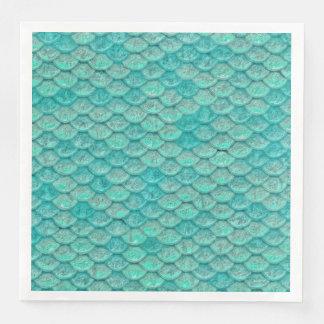 Mermaid Sea Green Scales Paper Napkin