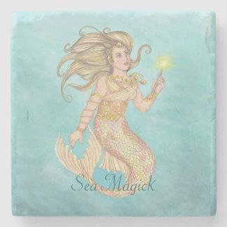 Mermaid Sea Queen Fia Fantasy Stone Beverage Coaster