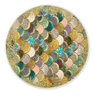 Mermaid Sea Scales Beachy Glamour Chic Ceramic Knob