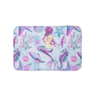 Mermaid Seahorse Starfish Lavender and Blue Bath Mat