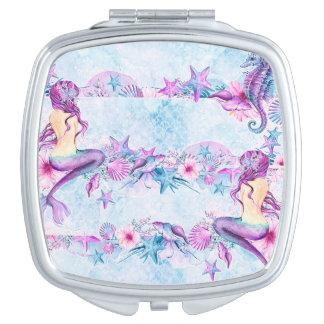 Mermaid Seahorse Starfish Lavender & Blue compact Compact Mirrors