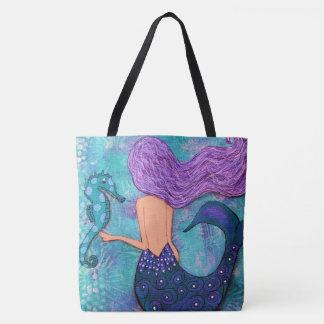 Mermaid Seahorse Tote Bag Purple and Teal