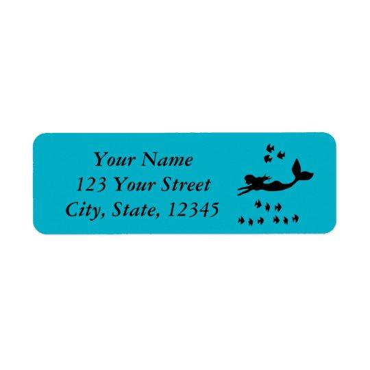 Mermaid Silhouette Blue Return Address Labels