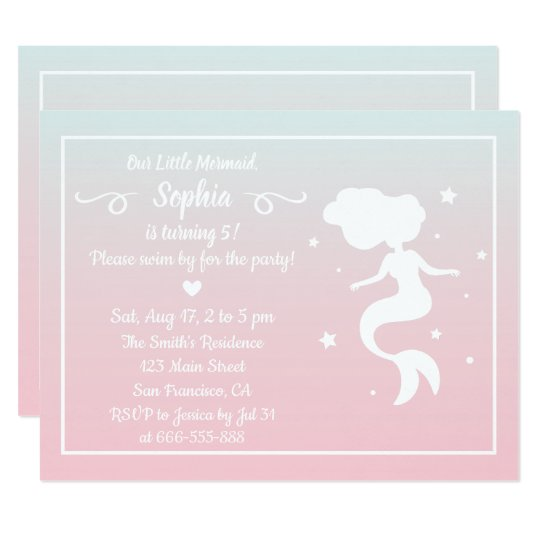 Mermaid Silhouette Pink Blue Ombre Birthday Party Card