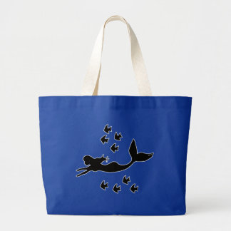 Mermaid Silhouette Royal Blue Jumbo Tote Bag
