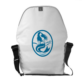 Mermaid Siren Sitting Singing Oval Retro Courier Bag
