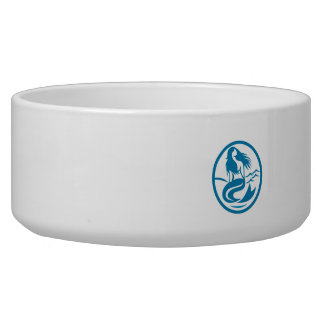 Mermaid Siren Sitting Singing Oval Retro Dog Bowl