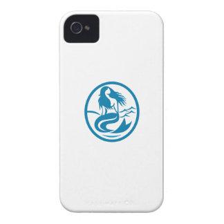 Mermaid Siren Sitting Singing Oval Retro iPhone 4 Cases