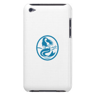 Mermaid Siren Sitting Singing Oval Retro iPod Touch Case-Mate Case
