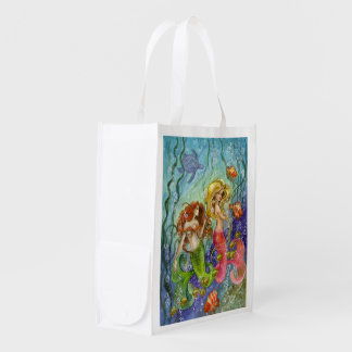 Mermaid sisters reusable grocery bag