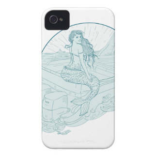 Mermaid Sitting on Boat Drawing Case-Mate iPhone 4 Case