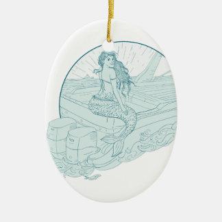 Mermaid Sitting on Boat Drawing Ceramic Ornament