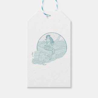 Mermaid Sitting on Boat Drawing Gift Tags
