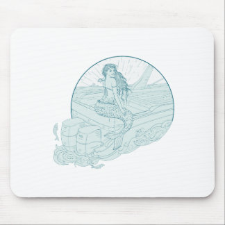 Mermaid Sitting on Boat Drawing Mouse Pad