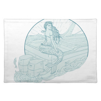 Mermaid Sitting on Boat Drawing Placemat