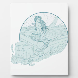 Mermaid Sitting on Boat Drawing Plaque