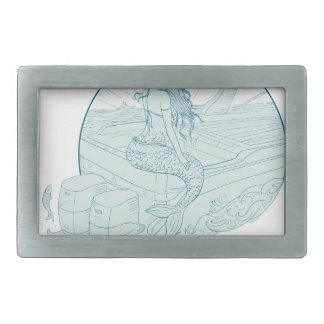 Mermaid Sitting on Boat Drawing Rectangular Belt Buckle