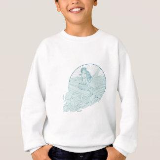 Mermaid Sitting on Boat Drawing Sweatshirt