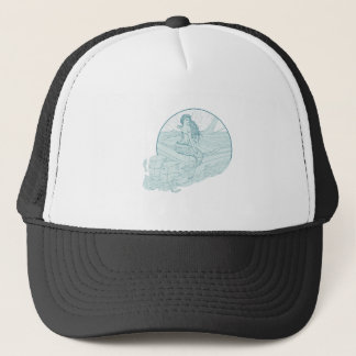 Mermaid Sitting on Boat Drawing Trucker Hat