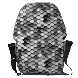 mermaid skin in black and white (pattern) courier bag