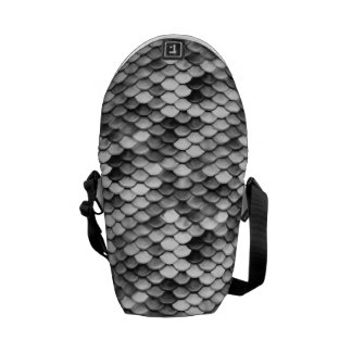 mermaid skin in black and white (pattern) courier bags
