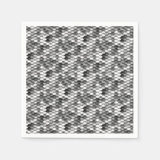 mermaid skin in black and white (pattern) disposable serviette