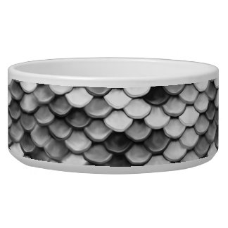 mermaid skin in black and white (pattern) dog bowl