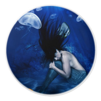 Mermaid Sleeping at the Bottom of the Ocean Ceramic Knob