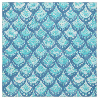 MERMAID SPARKLE Blue Fish Scales Pattern Fabric