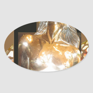 MERMAID Statue Gold Bronze : GREAT Gift occasions Oval Sticker