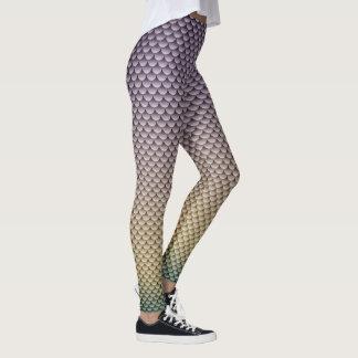 Mermaid Style ~ Silver-Grey, Yellow & Green Leggings